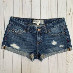 VS Pink Destroyed Distressed Cuffed Jean Shorts